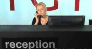 bored receptionist